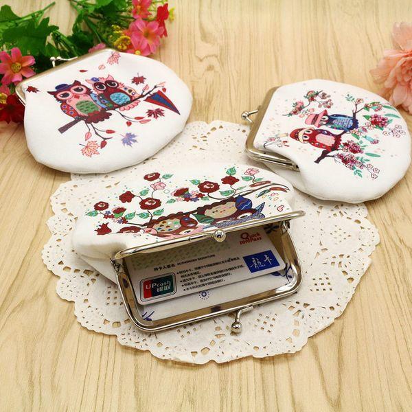 50pcs Fashion PU leather key purse Portable cute Owl shape Clutch Bag Handbag mini Coin change Purse Animal Graphic Wallet Christmas Gift