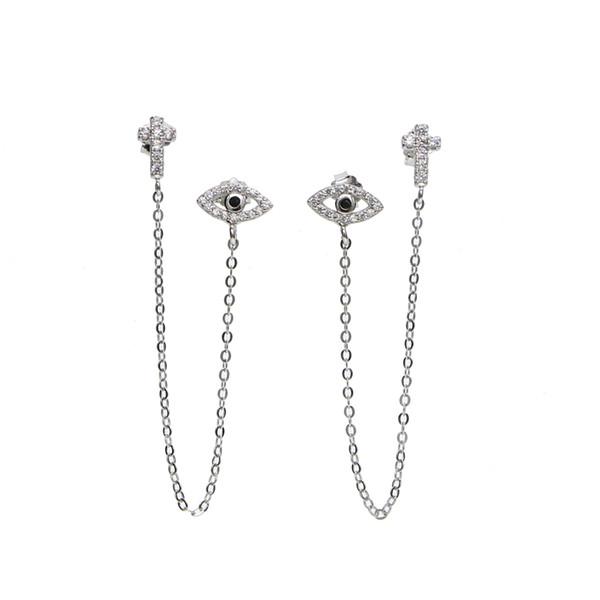 Steampunk style 925 Silver tassal earing Evil Eye & cross Zircon Stud Earring Women protector lucky earing dainty girl double hole earing