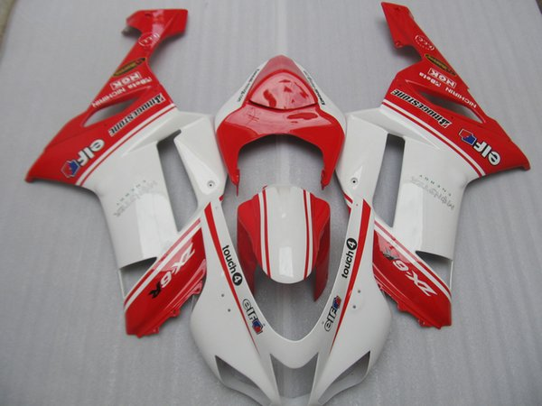 Free customize Fairing kit for Kawasaki Ninja ZX6R 2007 2008 white red fairings set ZX6R 07 08 OY16