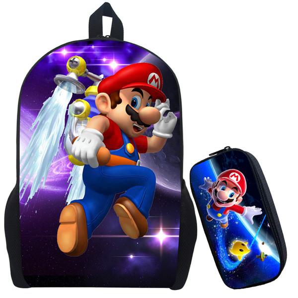 Al por mayor- Super Mario 2 mochila de impresión niños de dibujos animados Sonic Mochilas niños niñas mochilas escolares para el diario de Kindergarten mochila bolsa de libros