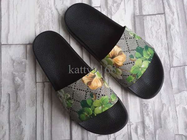 Discount Green Flower Slippers for Men and Women Fashion Spring Leather Brand Slide Sandals in Size Euro35-45