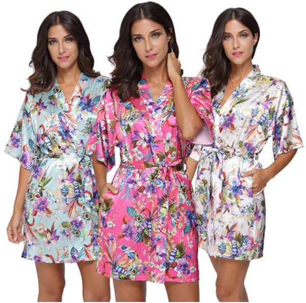 Women Flower Satin Short Kimono Robe Bridesmaid silk like Floral Print Bathrobe Lady Loose Nightgown Sleepwear Dressing Gown