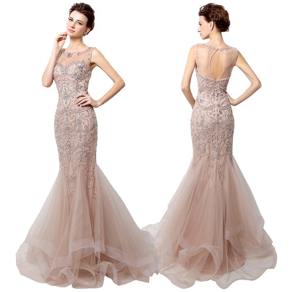 Real photos 2017 Mermaid Prom Dresses Illusion Scoop open back Sweep Train Sexy rhinestone Champagne Applique Beaded modern evening dresses