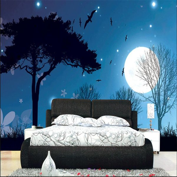 Wholesale-home decor Photo backdrops wallpaper for living room Night Moon Star Tree office bathrooms wall mural murals-3d wall paper