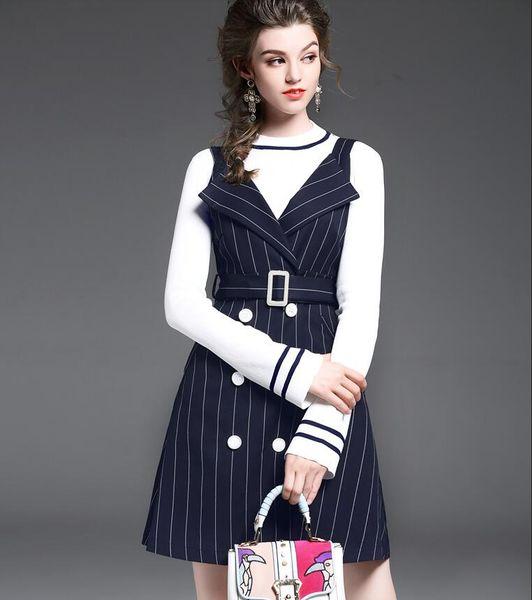 New Spring Autumn Women Fashion Two Piece Sets White Flare Sleeve Knitting Shirt Round Neck T Shirts + Navy Stripe High-Waist Vest Skirts