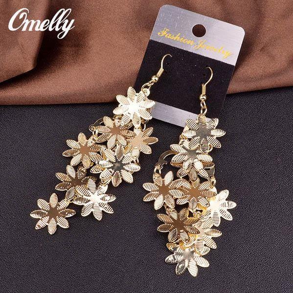New Design Snowflake Flower Dangle Earrings 14K Gold Filled Vintage Luxury Party Wedding Jewelry Women Wholesale in Bulk Christmas Gift