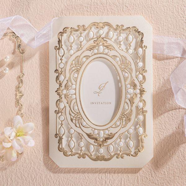 Atacado-Laser Cut Convites De Casamento Cartões Com Oco Flora Design Luxuoso Noivado para Festa de Aniversário Favores Do Chuveiro Nupcial CW6035