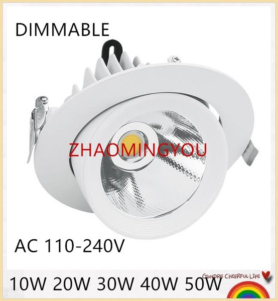 YON 10PCS 10W 20W 30W 40W 50W Dimmable COB LED Gimbal Embedded led lampe de coffre Round COB allumeur de magasin 85-265V LED Downlight