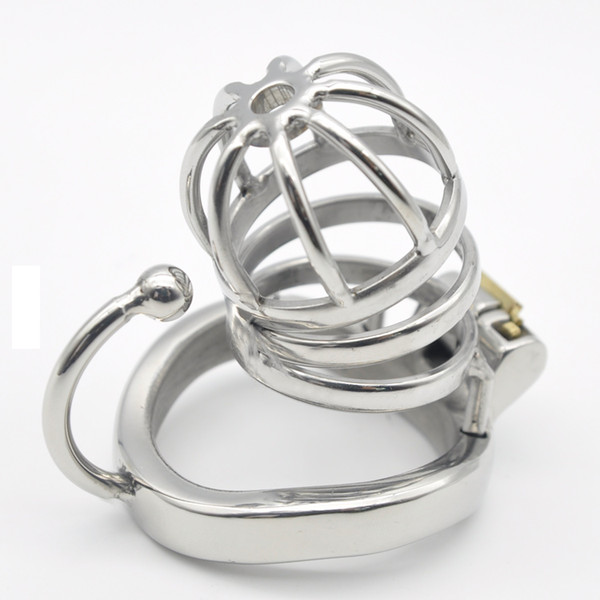 Chastity Devices Stainless Steel Male Chastity Small Cage with Base Arc Ring Device