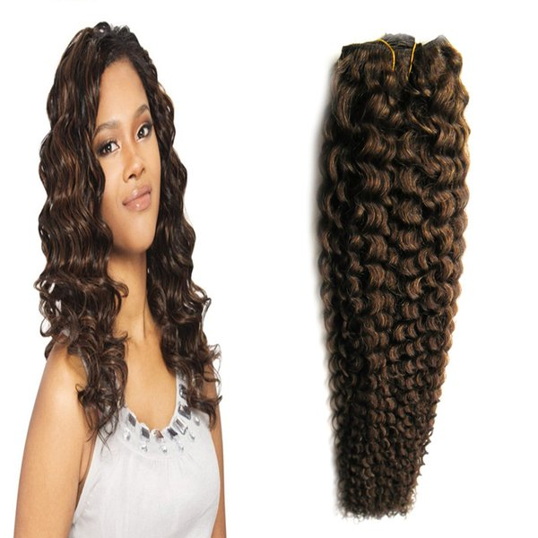 #4 Dark Brown human hair bundles 100g curly weave human hair 1pcs deep curly brazilian hair weave,no shedding, tangle free
