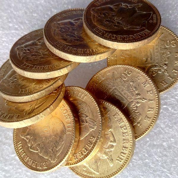 Hohe Qualität FRANKREICH volle Sätze (1862-1870) -A-B 10pcs gemacht vom Messing-überzogenen Gold NAPOLEON 20 FRANCS SCHÖNE MÜNZE COPY Münze