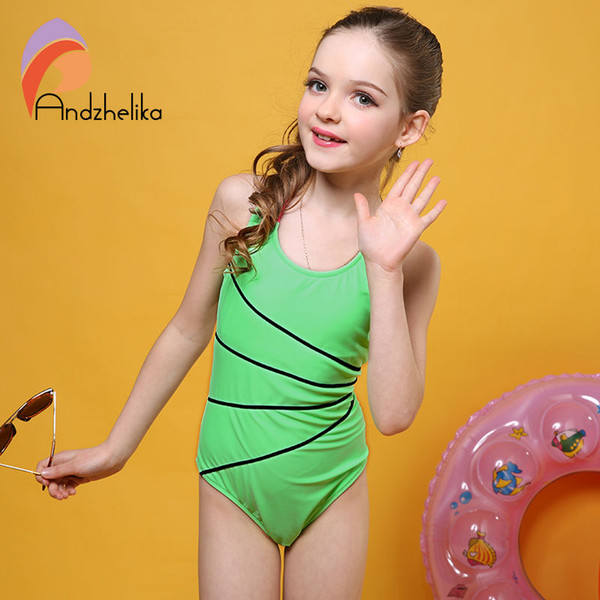 645e95701d83c 2017 Swimsuit Girls One Piece Swimwear Solid Bandage Bodysuit Children  Beachwear Sports Swim Suit Bathing Suit