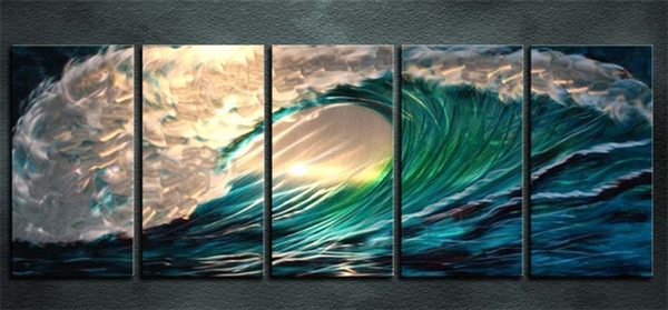 Framed -516 5 Panel 100% hand-painted Modern Abstract Huge Sea wave PURE HAND PAINTED ON HIGH QUALITY CANVAS art Oil Painting Multi sizes
