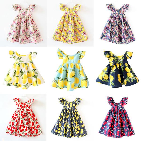 Cerise citron Coton dos nu filles robe de plage florale mignon bébé été dos nu licou robe enfants vintage fleur robe livraison gratuite