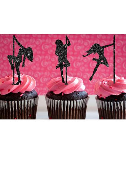Venta al por mayor- brillo Pole Dancing Girl Silhouette Cupcake Toppers evento deportivo Party Picks baby shower wedding toothpicks cumpleaños decoración