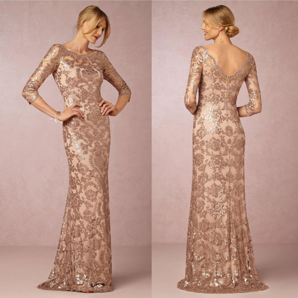 best selling 2019 Elegant Rose Gold Mermaid Sequined Lace Evening Dresses Jewel Neck Half Sleeves Cheap Mother Formal Wear Gowns Robe de Soiree CPS634
