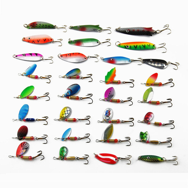 30pcs/set Spinner Baits Spoon Fishing Bait Lure Kit Sets 4-7 Swim Lure Bait for Outdoor Big fish Easy For Fishing