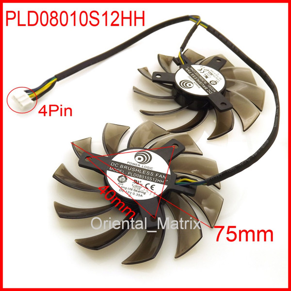 Wholesale- 2pcs/Lot PLD08010S12HH 75mm 12V 0.35A 4Pin For MSI GTX 560 570 580 R6770 R6870 R6950 Twin Frozr II Video Card Dual Fan