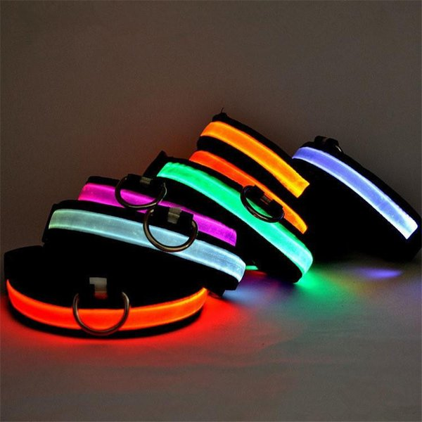 Pets Dog Collars LED Lights Collar Night Safety Flash Light Adjustable pet Products for Dog cats 8 Colors