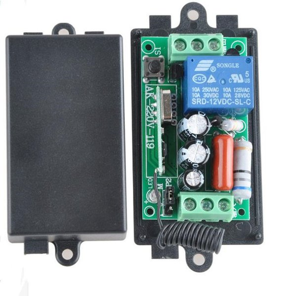 Wholesale- 2016 AC 220V 1CH 10A 433MHz 315MHz Remote Control Light Switch Relay Radio Receiver Module Case