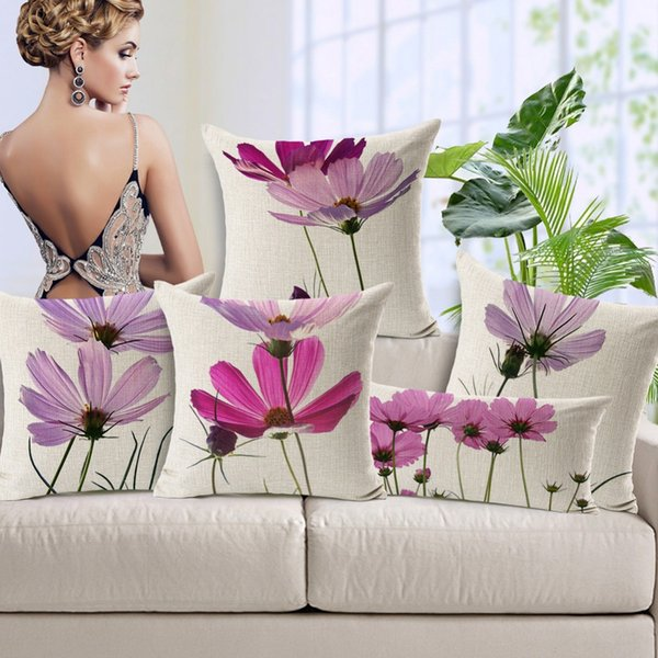 Pastoral Pink Purple Floral Flower Cushion Covers Hand Painting Flowers Art Cushion Cover Home Sofa Decorative Linen Cotton Pillow Case Gift
