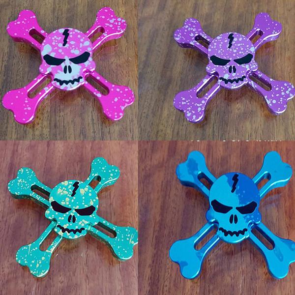 Hot Starry Sky Skull Head Rainbow Tri Fid Hand Spinner Gyro