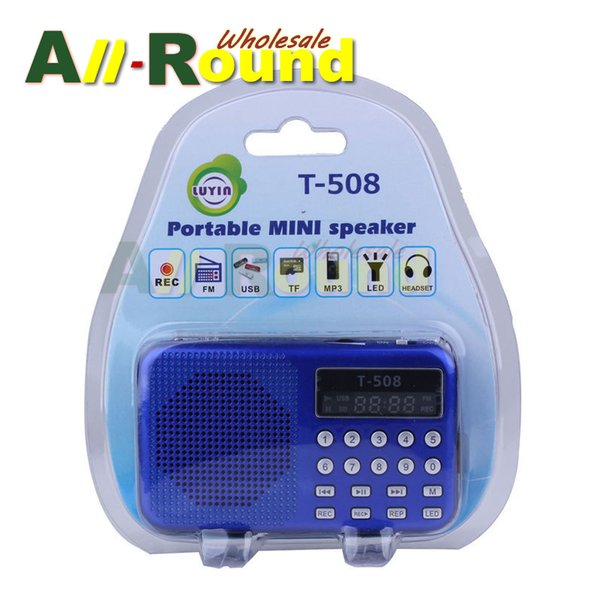 Wholesale-Mini Portable dual band Rechargeable Digital LED display panel Stereo FM Radio Speaker USB TF mirco for SD Card MP3 Music Player