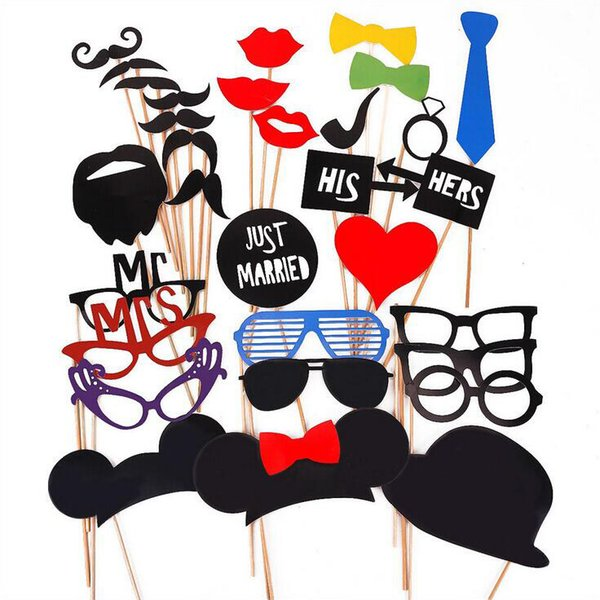 31pcs/lot Wedding Prop Set Photo HIS HERS Glasses Caps Beard On A Stick Birtyday Party Favor DIY Masks