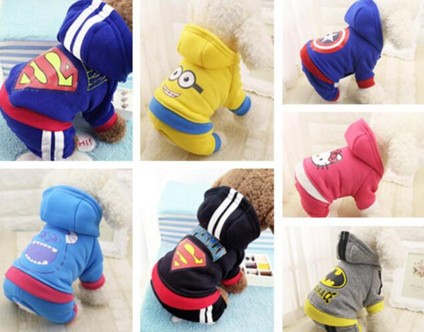 Cartoon Pet Clothes Dog Costumes Apparel Jumpsuit Pants Pet T-shirt Puppy Autumn Winter Coat Jacket Hoodies 1PC