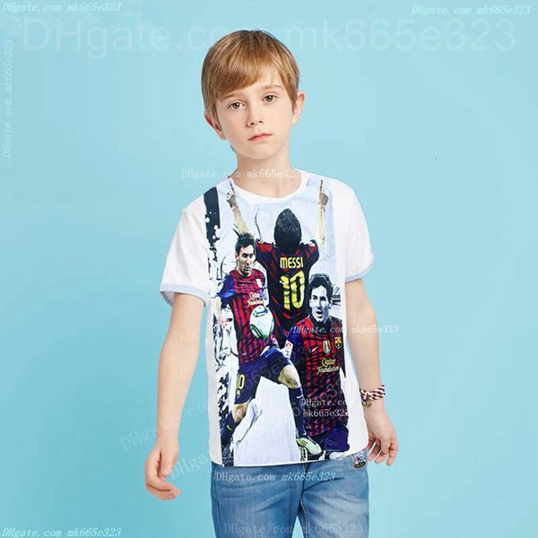 Boys Summer T-shirt Football Star Shirt 3D Digital Sports Suits Short Sleeve Tees Sports Clothes Cotton Tops Kids Clothing