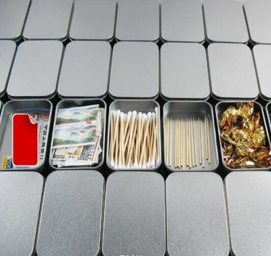 200pcs Tin Container Storage Box Metal rectangle for beads business card candy herbs Case 9.4cm x 5.9cm x 2.1cm Sliver