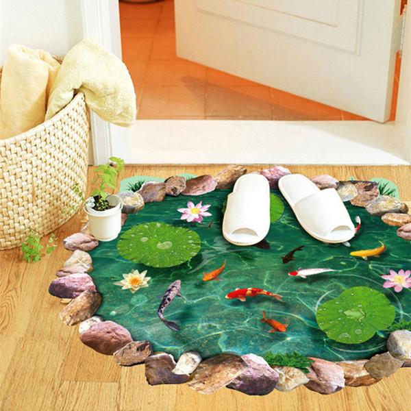 60 * 90 cm 3D Art Floor Adesivos PVC Estéreo Cenário Chão Adesivos Pond Fish Ground Pasta Anti Slip Piso Banheiro Banheiro Tapete