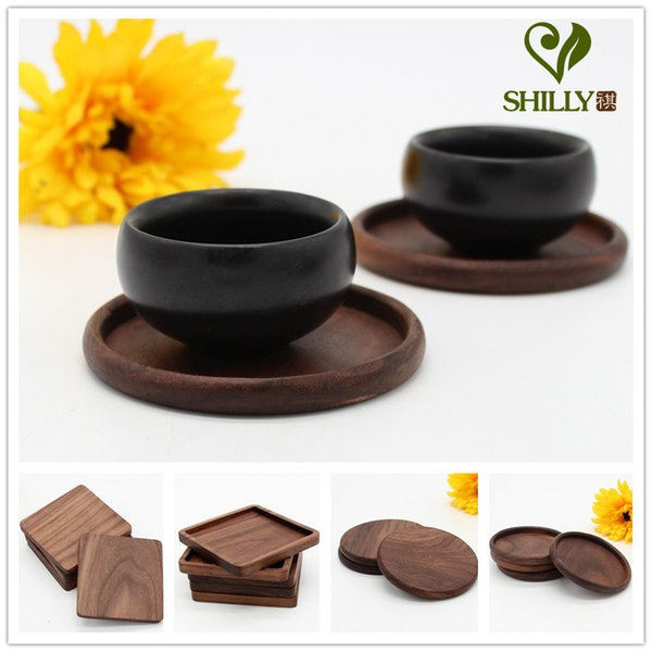 Wholesale- 1pcs Rectangle Mini Wooden Pallet Coaster Set Whiskey Wine Glass Cup Mat Pad Hot Cold Drink Wood Table Mat Bar Tool