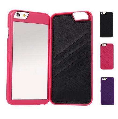Hot alta qualidade de luxo senhora compõem 3d dual layer slot para cartão wallet espelho phone case capa para iphone 7 6 6 s 6 plus 6 s + 4.7 5.5 polegadas
