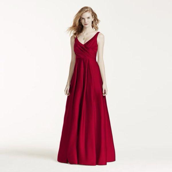 Tanque corpiño con cuello en V vestidos de dama de honor con dos bolsillos F15741 vestido de fiesta vestido de noche vestidos formales