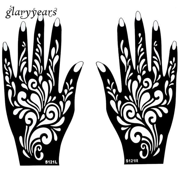 Wholesale-1 Coppia Mani Mehndi Henna dello stampino del tatuaggio Flower Design Pattern per le donne Body Art dipinte a mano 20 centimetri e getta * 11cm S121