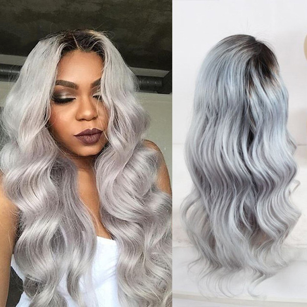 Brazilian Ombre Human Hair Lace Front Wig 1B Grey Two Tone Full Lace Wig Dark Rooted Gray Hair Wigs For Black Women