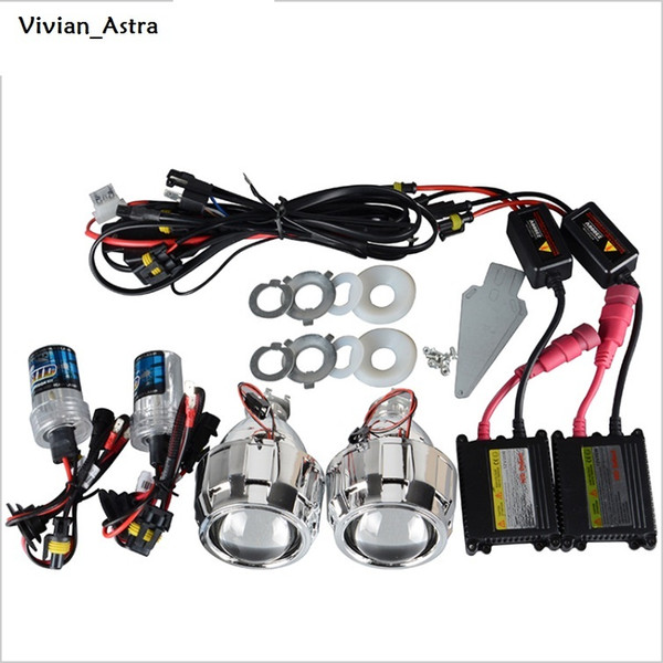 35W 2.5 Inch LHD/RHD Bixenon HID Projector Lens With Shrouds H1 H4 H7 Motorcycle Auto Car Headlight Full Kit 4300K 6000K 8000K