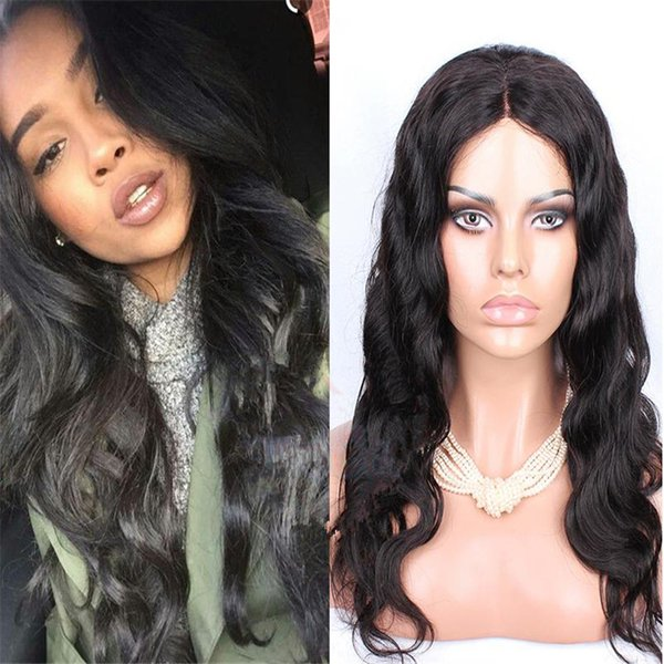 Silk Base Full Lace Wig 1B Peruvian Wavy Human Hair Virgin Full Lace Wig for Women Free Shipping