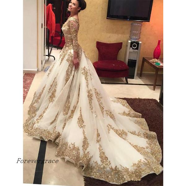 Abito lungo da ballo di lusso musulmano Abito da sera stile arabo saudita con maniche lunghe, abito formale da sera Plus Size