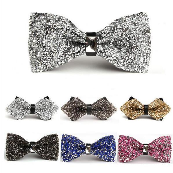 top popular men Fashion Luxury Diamond Bow Tie Glitter Crystal Rhinestone Men Tuxedo Bow Tie Triangle Adjustable for Wedding Party gift 2020