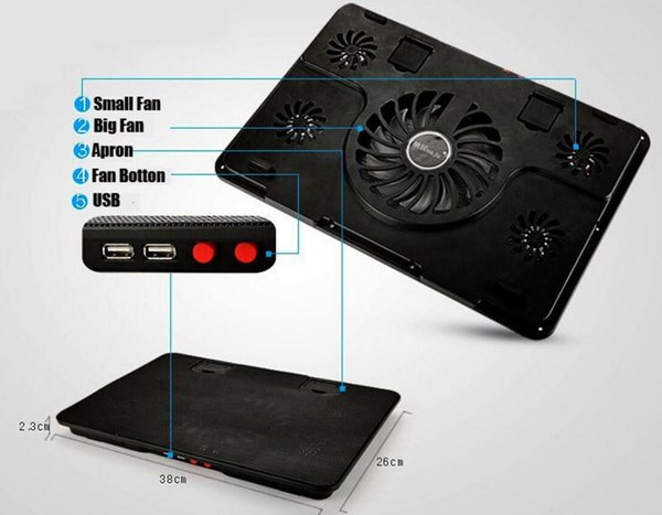 14 15.6 inch laptop cooling pad 5 fans USB notebook cooler cooling base powerful