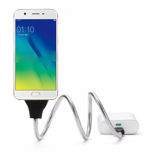 Free DHL Flexible Micro USB Charger Data Cable Holder Bracket Dock Stand Connect Charging For Samsung