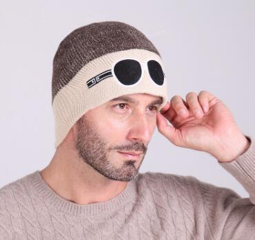 New neutral cartoon ricamo bicolore occhiali maglieria cappelli inverno all'aperto caldo equitazione sci lana berretti donna berretti di Natale all'ingrosso
