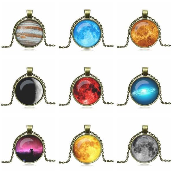 Горячая распродажа взрывоопасная Вселенная небо луна Луна драгоценный камень древний бронзовый ожерелье свитер цепи ретро WFN554 (с цепью) смешать порядка 20 штук много