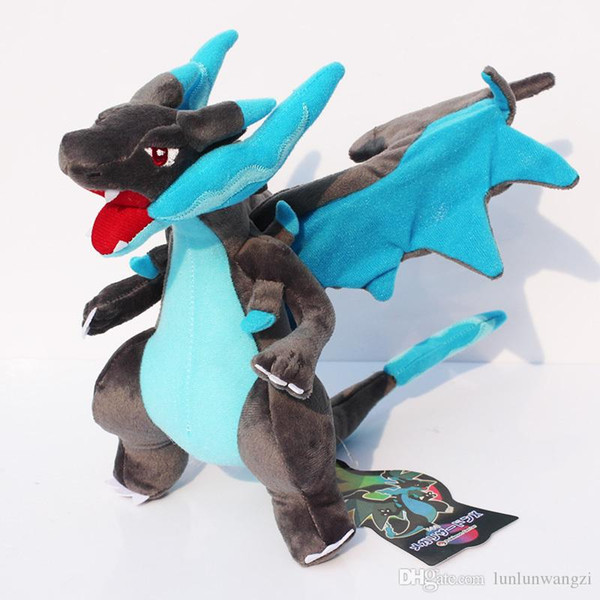 """CENTER Original Plush Doll X Blue Color Charizard Plush Toy Doll With Tag 10""""25cm Free Shipping"""