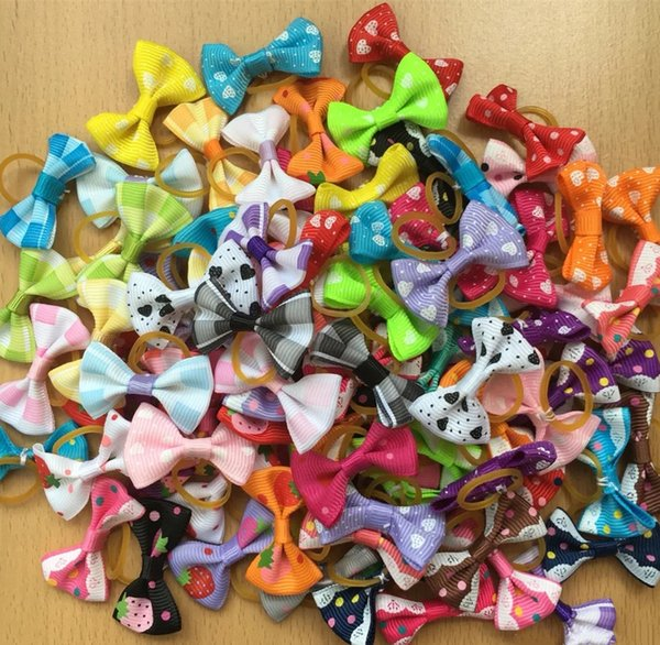 100pcs/lot New Handmade Pet Products Dog Grooming Bows Dog Hair Accessories Pet Hair Tie Dog Bow Hairs rubber bands wholesale
