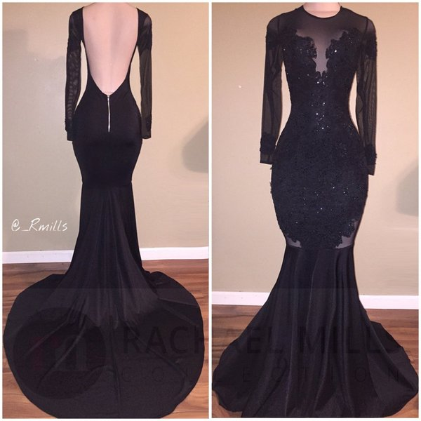 top popular Hot Sale Elegant Black Illusion Prom Dresses Sexy Backless Mermaid Long Sleeves Stretch Long Evening Party Gowns with Appliques Beaded 2020