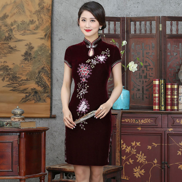 2019 New high quality simple fashion plus size short sleeve velvet beading purple/red short cheongsam Chinese dress daily qipao