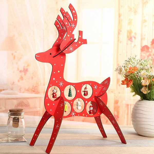 1pcs christmas ornaments red deer diy cutout wooden crafts christmas decorations new year home party supplies
